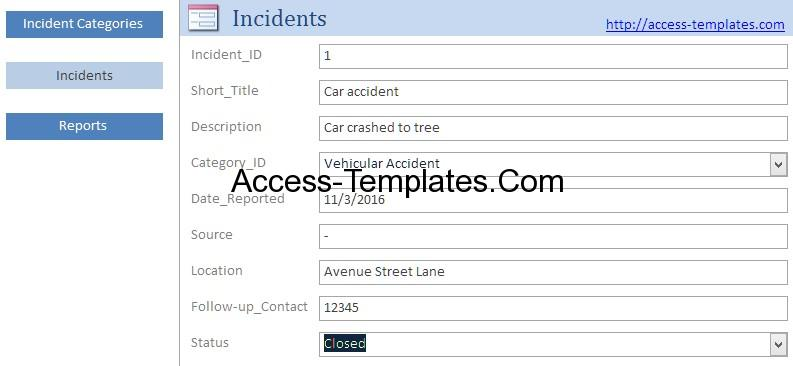 Access Templates Incident Management System and Report Database - Accident Report Template
