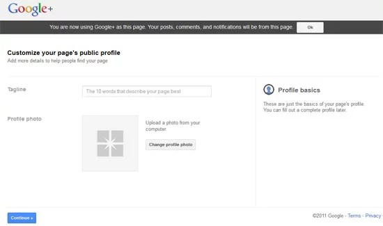 Google plus Create Page - Business Profile information
