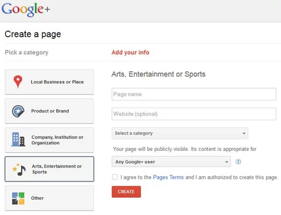 Google Plus Create Page - Choose category and enter information