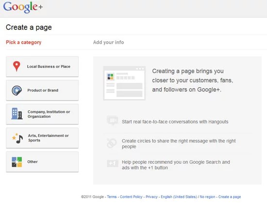 Google Plus Create Page