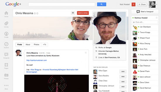 Google Plus enhanced Profile page Timeline