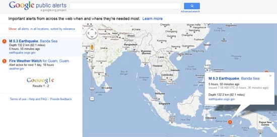 Get Real-time Alert on Tsunami and Earthquake on Google Maps