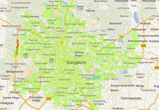 Airtel 4G LTE Bengaluru Coverage Area