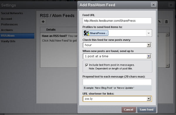 HootSuite Adding RSS Feeds for Auto Publishing