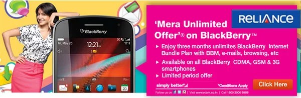Reliance offering 3 Months Free 'Mera Unlimited Offer' on BlackBerry