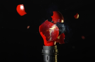 broken red light bulb