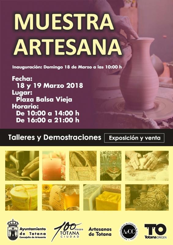 La II Muestra Artesana se celebra los días 18 y 19 de marzo, en la plaza de la Balsa Vieja, con un total de 15 expositores que ofrecerán diferentes productos en talleres alfareros y sobre oficios artesanos varios