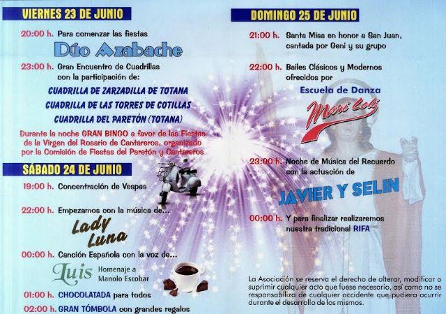 Las tradicionales fiestas del barrio de San Juan de la pedanía de El Paretón se celebran del 23 al 25 de junio