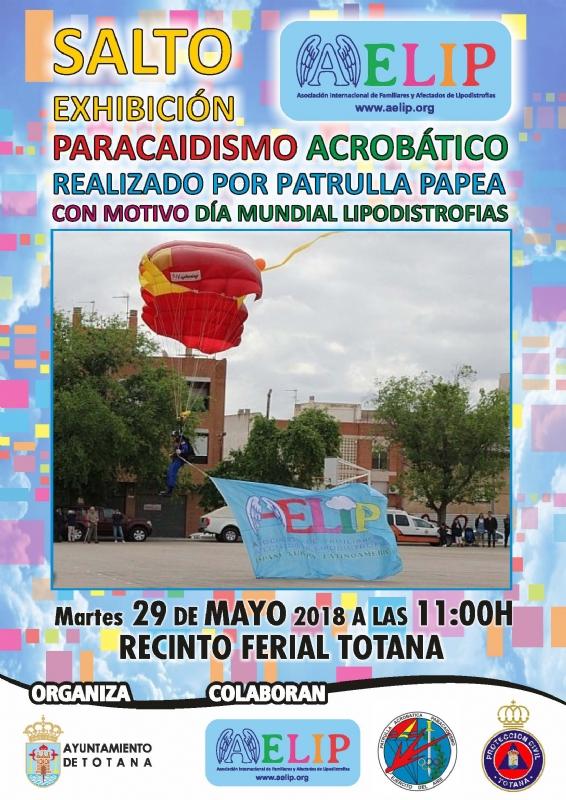 El Ayuntamiento y AELIP organizan el próximo 29 de mayo (11:00 horas), en el recinto ferial, el Salto Acrobático de la Patrulla PAPEA con motivo del Día Mundial de las Lipodistrofias