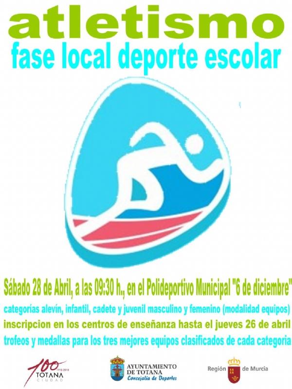 """La Concejalía de Deportes organiza la Fase Local de Atletismo de Deporte Escolar el próximo sábado 28 de abril, en el Polideportivo Municipal """"6 de diciembre"""""""