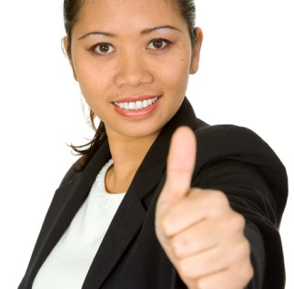 asian business woman - thumbs up