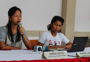 "WORD WAR. Sheena Duazo (left), spokesperson of Bagong Alyansang Makabayan-Southern Mindanao, calls the 'no permit, no rally' policy of Davao City Mayor Sara Duterte-Carpio ""unconstitutional"" and ""anti-democratic"" in a press conference, March 4. (davaotoday.com photo by Jandy Ken Lizondra)"
