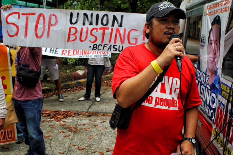 Rodney Baslot, President of Brokenshire College Faculty and Staff Union, scores the moves of the school management against the union and their members.  (davaotoday.com file photo by Ace R. Morandante)