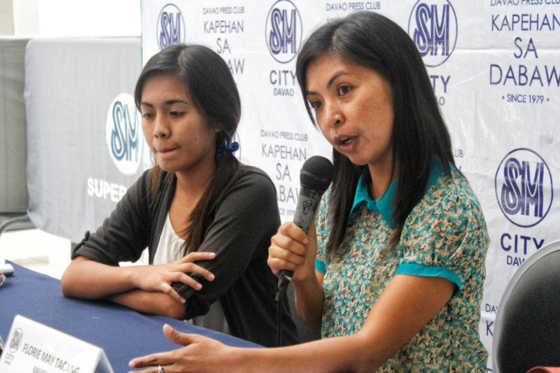 CHILD LABOR.  Florie May Tacang (right), executive director of children's rights advocacy group Kaugmaon, says Monday the number of cases of child labor in Davao City is alarming.  She noted their rough estimate of at least 100 children, in each of the city's 182 villages, who were forced -- if not compelled -- to work in order to survive.  (davaotoday.com photo by Medel V. Hernani)