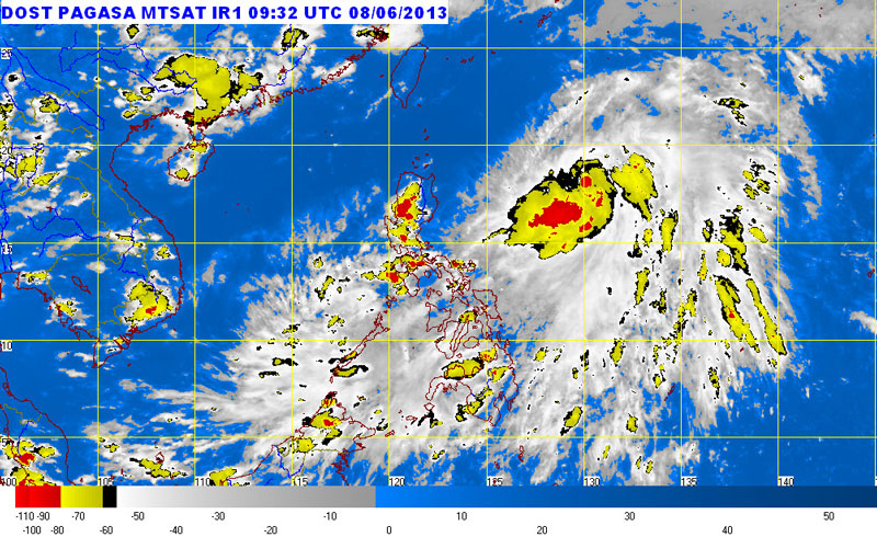 "Pagasa said as of 4 PM Saturday, the center of ""Dante'"" was estimated at 730 Kilometers Northeast of Casiguran in Aurora.  It has a maximum sustained winds of 55 Kph near the center and is expected to move Northeast at 11 Kph."
