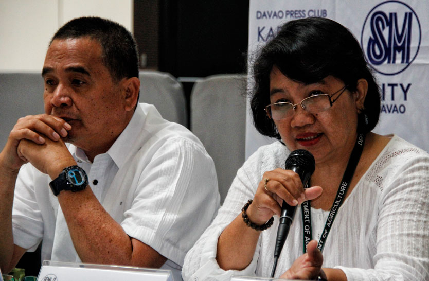 SUPPORT FOR DURIAN INDUSTRY Department of Agriculture XI Executive Director Remelyn Recoter (right) assures durian growers of technical support and funds which could be sourced from PDAF. At left is Rogelio Tabay from the City Agriculturist Office, who announces the Kadayawan Durian Festival slated on August 10 to 25 at SM Lanang Premier Fountain Court.(davaotoday.com photo by Medel V. Hernani)