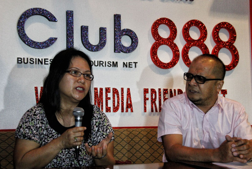 Peace advocates lawyer Mary Ann Arnado and Jun Aparece of Mindanao People's Caucus announced on Wednesday's Club 888 press forum that next month's round of peace talks between the government and the Moro Islamic Liberation Front will include members of civil society.  (davaotoday.com photo by Medel V. Hernani)