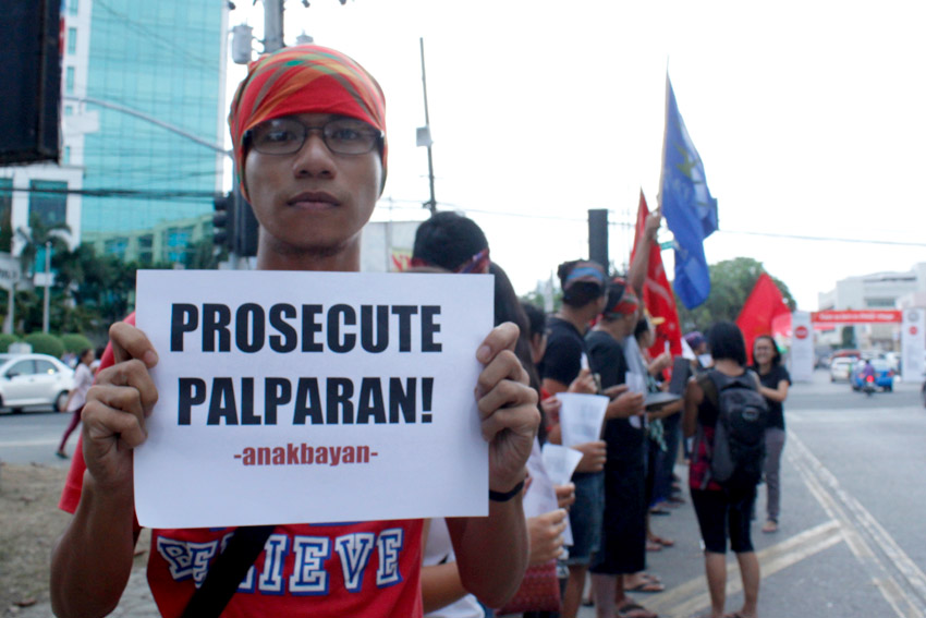 Youth and other advocates urge for the prosecution of fugitive Ret. Gen. Jovito Palparan, accused of committing many human rights abuses during the Aquino government, after he was arrested by authorities Tuesday.