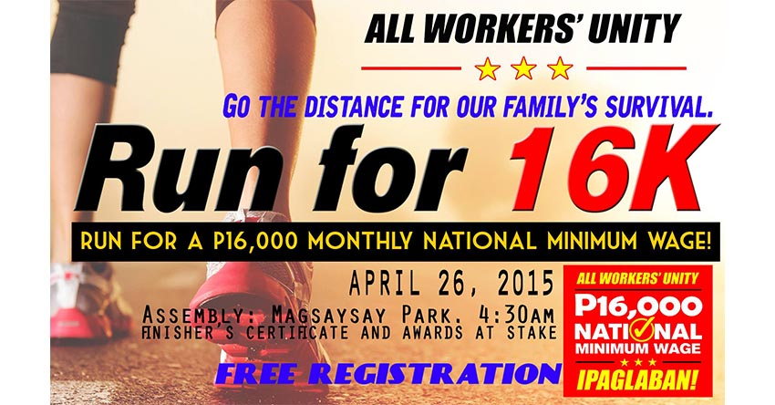Labor alliance launch run for P16k minimum wage on Sunday