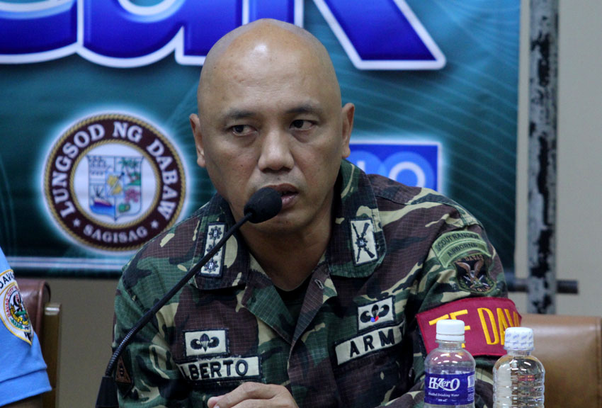 Task Force Davao commander col. Macairog Alberto said that terrorist organization change its picture due to the neutralization of there leaders, but still they are not discounting there capabiltiy and they are not taking for granted even without any threats report. (Ace R. Morandante/davaotoday.com)