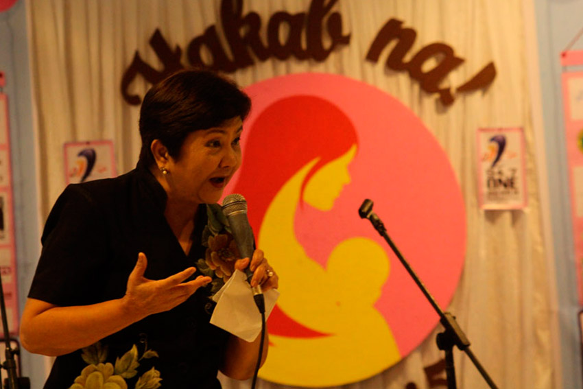 Gabriela Women's Partylist Rep. Luzviminda Ilagan shares her story of breastfeeding all her sons during Hakab Na 2015, a simultaneous breastfeeding event held at the Abreeza Mall on Saturday morning. (Ace R. Morandante/davaotoday.com)