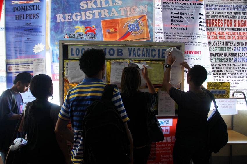 Graduates from different schools in Davao City look for a job at the Philippine Employment Services Office in Davao City Hall. According to a Social Weather Station survey, as of September 2015 the country's unemployment rate grew to 23.2 percent or an estimated 10.5 million Filipinos. (Ace R. Morandante/davaotoday.com)