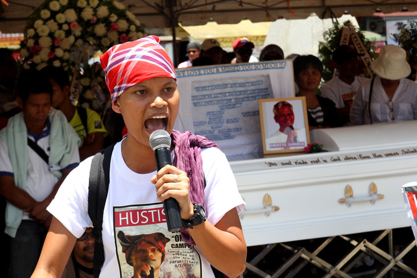 Michelle Campos, daughter of the slain Lumad leader Dionel Campos who chairs the Malahutayong Pakigbisog Alang sa Sumusunod says the government's anti-insurgency operation, Oplan Bayanihan is the reason why her father was killed by the Magahat-Bagani Forces. The older Campos is accused of being a supporter of the New People's Army.