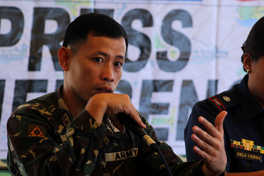 Captain Rhyan Batchar, 10th Infantry Division spokesperson tells the people who are travelling back to Davao City to cooperate with security forces who are conducting inspections after the recent bombing in the city last week. (Ace R. Morandante/davaotoday.com)