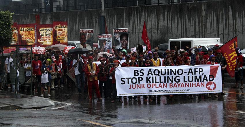 Despite heavy rains, Lumads protest AFP, PNP headquarters