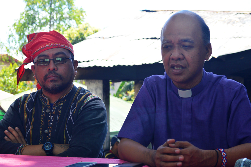 UCCP Bishop Modesto Villasanta (right) condemns the burning of their church dormitory and the evacuation camp that injured some Lumad evacuees and traumatized their student boarders and their staff last Wednesday, February 24.(Noveah May Simbajon/davaotoday.com)