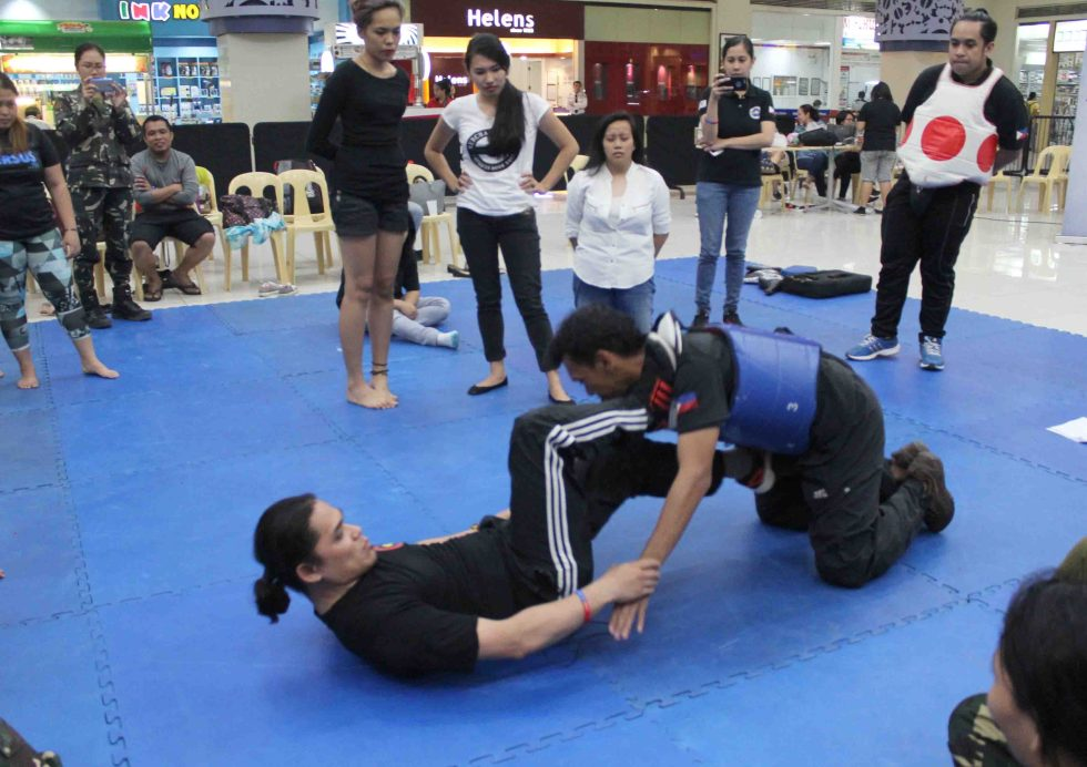 SELF DEFENSE TRAINING. Members of Bagani Martial Arts Center in Davao City show the foot work defense which can be used by women against their attackers.(Medel V. Hernani/davaotoday.com)