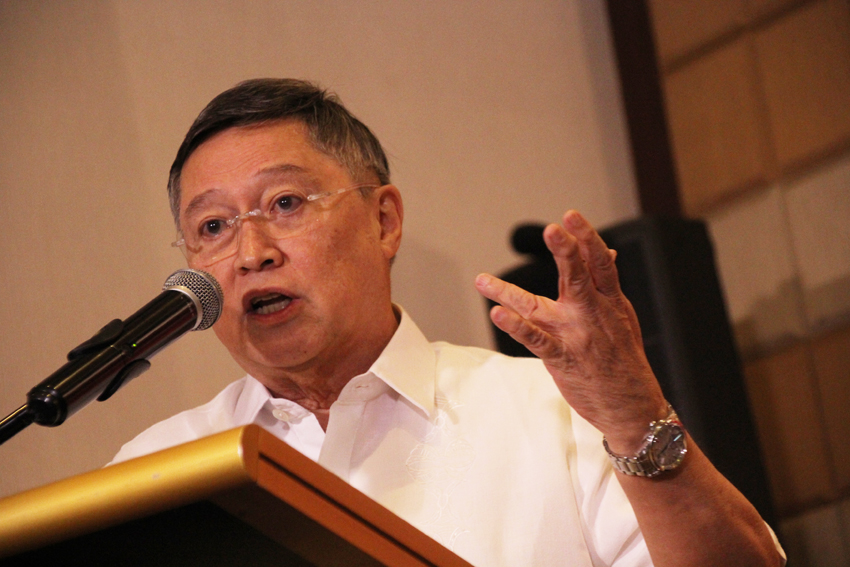 "Businessman Carlos ""Sonny"" Dominguez, who is a member of the transition team of President-elect Rodrigo Duterte, discusses the eight-point economic agenda of the new administration at the Marco Polo Hotel on Thursday, May 12. (Ace R. Morandante/davaotoday.com)"