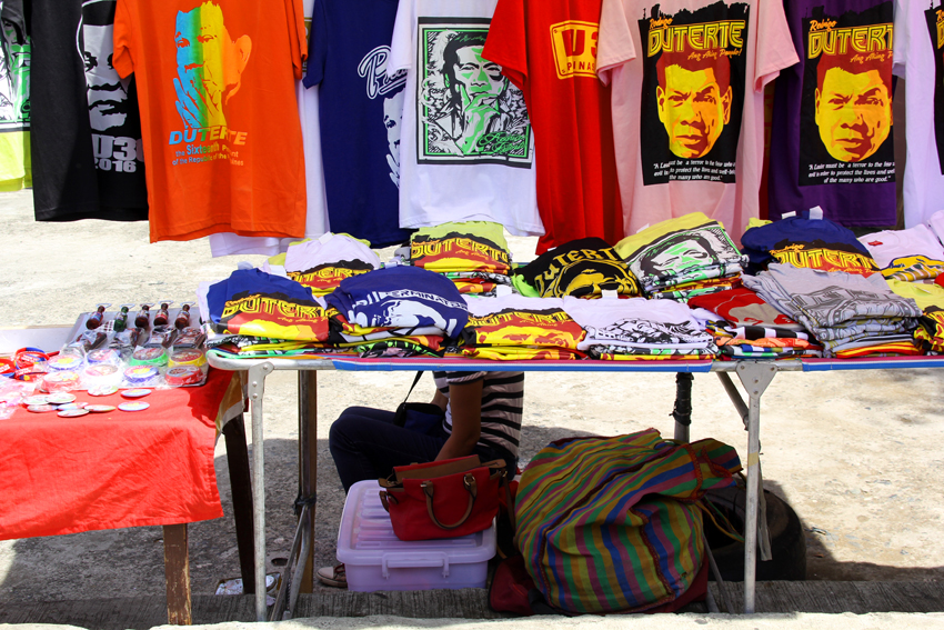 LIKE HOTCAKES. Even after the elections, many small printing business like this stall found along the highway of Quimpo Boulevard in Davao City, find business opportunity in selling Duterte shirts.(Ace R. Morandante/davaotoday.com)