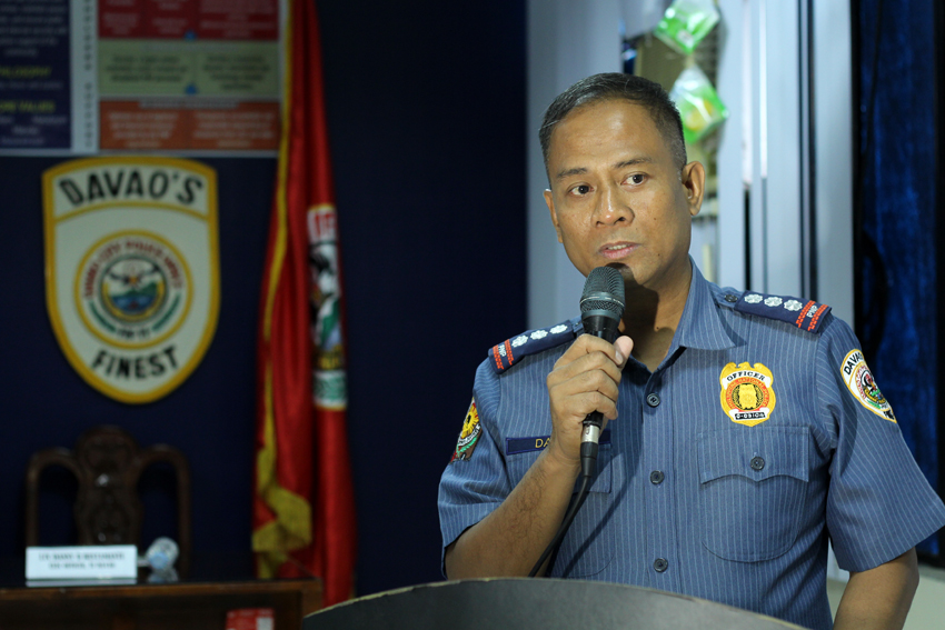 Police Senior Superintendent Vicente Danao Jr, outgoing Davao City police chief, delivers his message to the media in Davao City on Wednesday morning, June 22. Danao,Jr said he is awaiting for the job which will be assigned to him by the President-elect Rodrigo Duterte. (Ace R. Morandante/davaotoday.com)