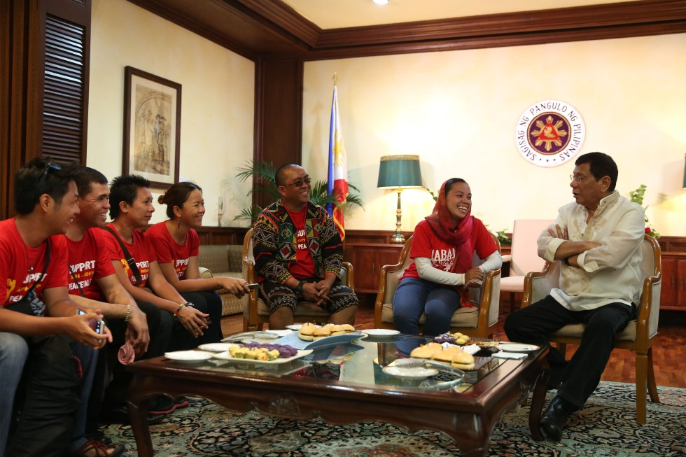 Militant groups meet with President Rodrigo Roa Duterte for a dialogue after delivering his first State of the Nation Address at the House of Representatives in Quezon City on July 25, 2016. KING RODRIGUEZ/PPD
