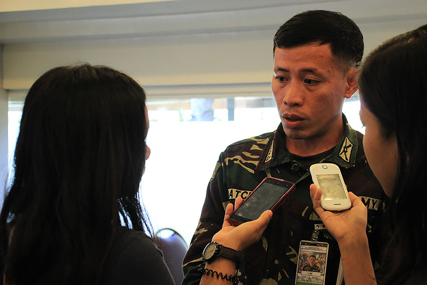 Capt. Rhyan Batchar, spokesperson of the 10th Infantry Battalion denies Army's air strike wounded a civilian following an encounter with the New People's Army in Davao Oriental. (Paulo C. Rizal/davaotoday.com)
