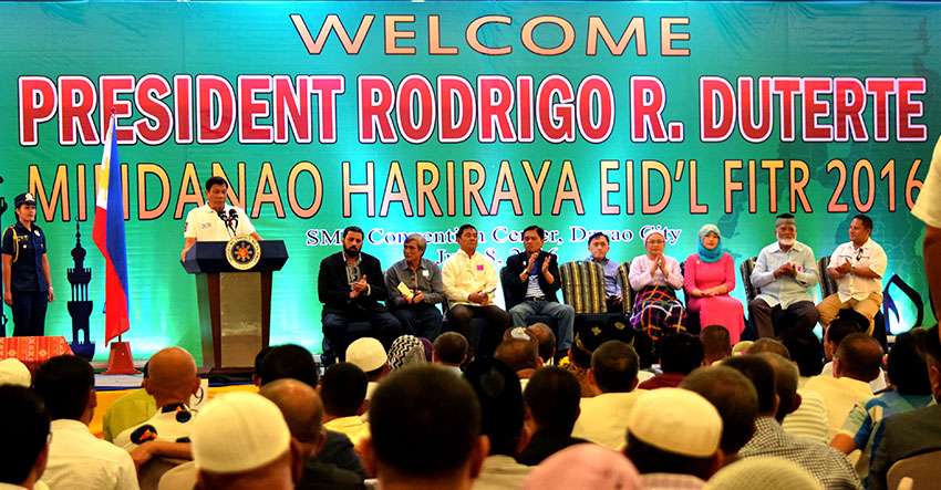 President Rodrigo Duterte speaks before some 700 Mindanao Muslim leaders during the Mindanao Hariraya Eid'l Fitr 2016 at the SMX Convention Center, SM Lanang in Davao City on Friday, July 8. (Presidential Photographers Division)