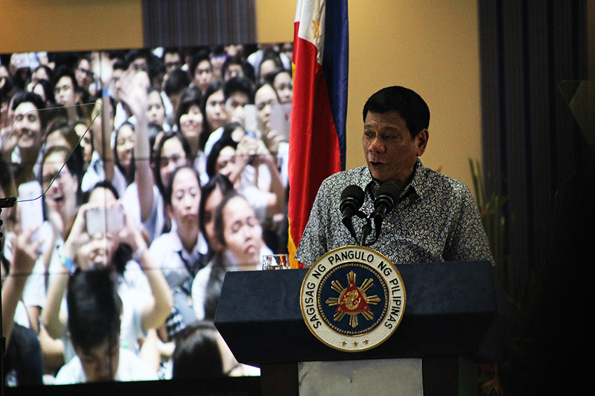 President Rodrigo Duterte delivers a speech during the State of the Mindanao Environment held at the Ateneo de Davao University on August 4, 2016. His documentary video dubbed First 50 Days will also be shown in AdDU on August 18, 2016. (Paulo C. Rizal/davaotoday.com)