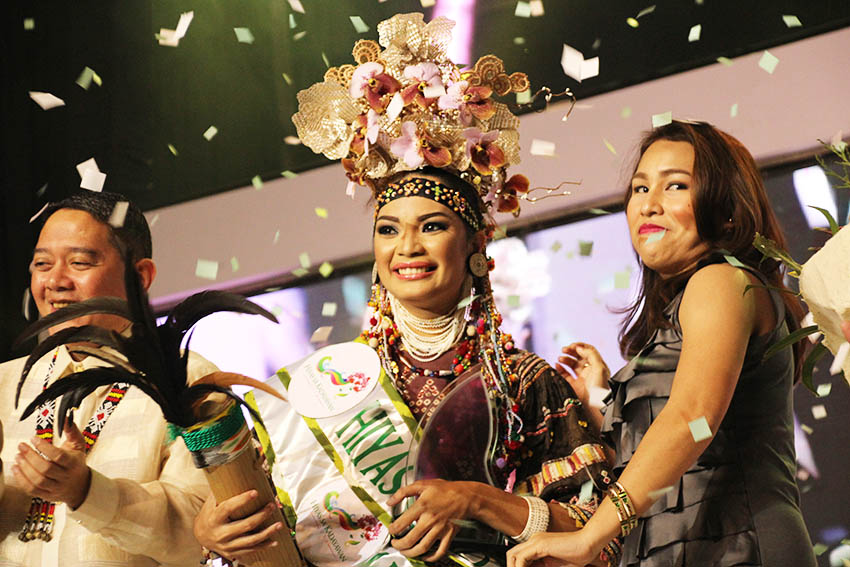 Inna Betil Garcia, 22, of the Bagobo K'Lata tribe, is the Hiyas ng Kadayawan 2016. She was crowned Friday night, August 19 at the Davao Recreation Center. (Paulo C. Rizal/davaotoday.com)