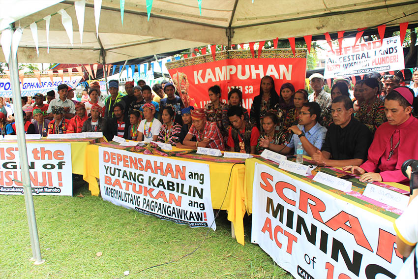 Leaders, representatives, and support groups hold a press conference inside the protest camp at the Rizal Park in Koronadal City. The protesters demand for land, food, justice, and peace, for the Lumads, workers, and peasants. (Earl O. Condeza/davaotoday.com)