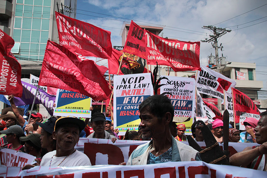 Around 1,000 Lumad and Moro activists trooped in front of the National Commission on Indigenous Peoples office in Quezon City to call for the agency's abolition. (Paulo C. Rizal/davaotoday.com)