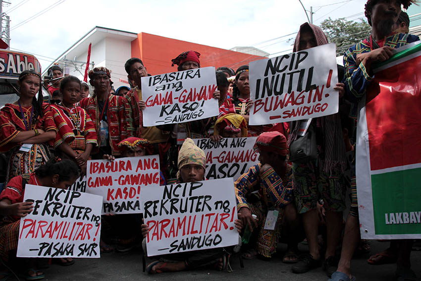 The indigenous and Moro people's alliance, Sandugo protests outside the National Commission on Indigenous Peoples for its failure to address the issues of the indigenous people across the country.