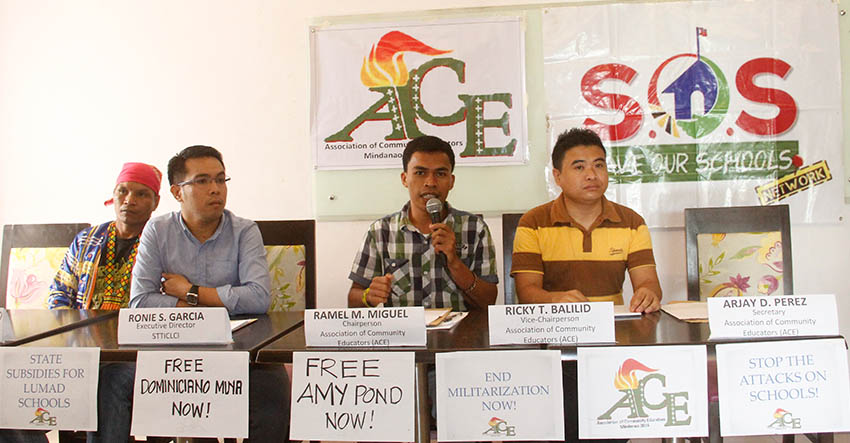A group of volunteer educators who are teaching Lumad children in Mindanao has renewed its call  for the immediate release of their colleagues who were accused of being members of the New People's Army. (Earl O. Condeza/davaotoday.com)