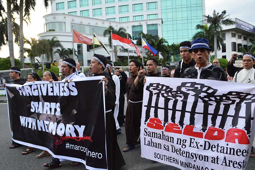 BROTHERS MOVEMENT. Religious brothers from St. Alfonso's Theological and Mission Institute join the protesters on Friday's anti-Marcos rally  in Davao City.  (Medel V. Hernani/davaotoday.com)