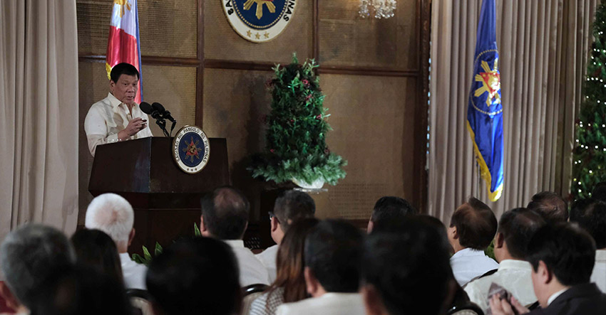 President Rodrigo Duterte during the oath-taking ceremony at the Rizal Hall in Malacañan Palace on January 9, 2017. ACE MORANDANTE/Presidential Photo