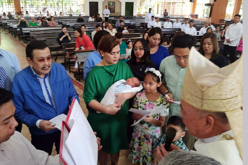 IN PHOTOS| Manila Mayor Erap Estrada is 'ninong' to Duterte's grandson