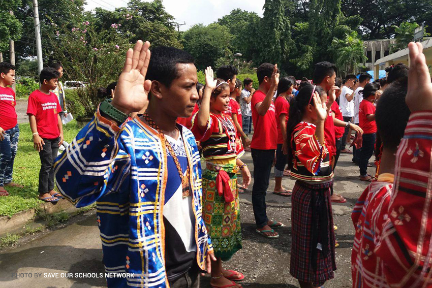 displaced lumad students continue classes at camp in up