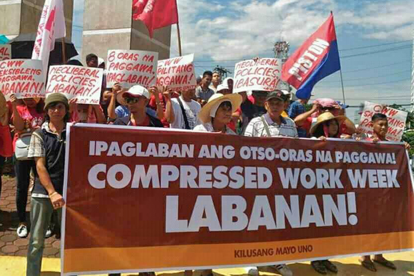 Labor unions protest compressed work week