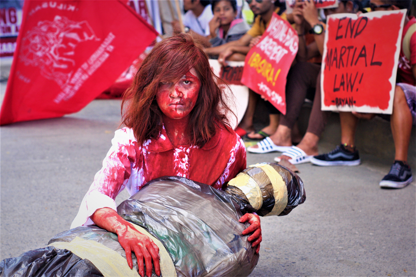 "HR day rally in Davao City stages ""bloody"" reenactment of 2018"