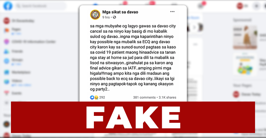 Re-imposition of lockdown in Davao 'fake news', says Mayor Sara